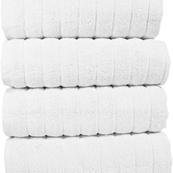 "Luxury Bath Hand Towel Set - Combed Cotton Hotel and Spa Quality Hand Towel - Made with 100% Turkish Cotton, Set of 4 (20"" x 32"") Jacquard Rib Style - White"