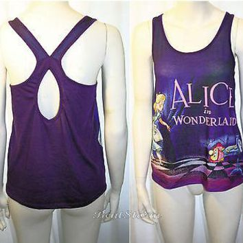Licensed cool ALICE IN WONDERLAND Title Card DRINK ME Purple Keyhole Back TANK TOP JRS S-XL