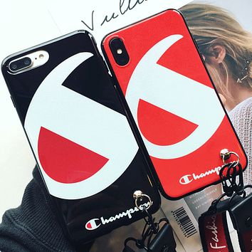 Iphonex mobile phone shell iphonex mobile phone set popular logo hang line 7plus mobile phone shell full package soft 8plus couple 6s.