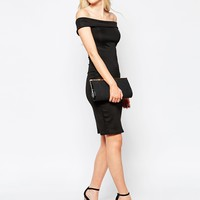 Club L Essentials Bardot Scuba Dress at asos.com