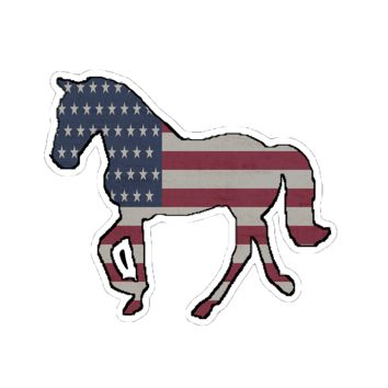 Tennessee Walking Horse with American Flag Sticker