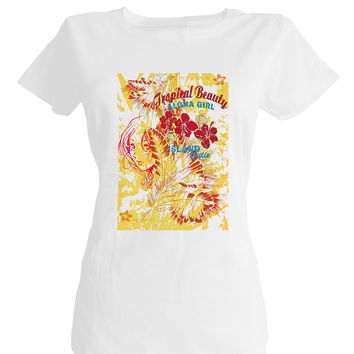 Tropical girl, Hawaiian fabric, Hawaii art,t shirts online,t shirt designer, tee shirt printing,best t shirts,tee shirt design,best t shirts