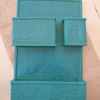 blue organizer // wall hanging organizer // blue hanging mail basket // wicker and bamboo mail or letter tray // craft room organization