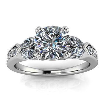 Diamond Marquise and Moissanite Engagement Ring - Madrid