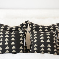 Black & Tan Tri Mudcloth Pillow Covers | Various Sizes