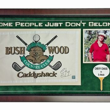 CHEVY CHASE SIGNED CADDYSHACK FLAG FRAME COLLAGE COA ASI BUSHWOOD PIN AUTOGRAPH