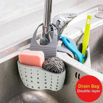 CREYLD1 Portable Basket Hanging Drain Basket Useful Suction Cup Sink Shelf Soap Sponge Drain Rack Kitchen Sucker Storage Tool