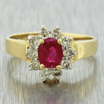 1960s Vintage Estate Women's 14k Solid Yellow Gold Ruby Diamond Engagement Ring