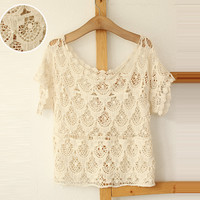 070118 Lace short -sleeved