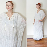 Vintage 1970s Dress - White Lace Accordion Pleat Angel Caftan Maxi Sheer Floral - One Size