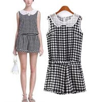 Houndstooth Lace Collar Sleeveless Romper