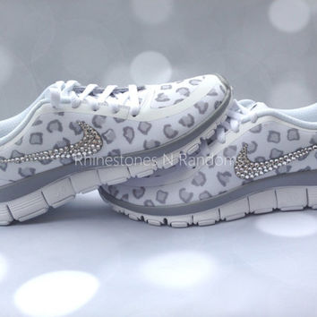 Nike Free Run 5.0 V4 / Cheetah Print /  Leopard Print / White/Metallic Silver/Wolf Grey / Embellished with Swarovski Crystals / Bling Nikes