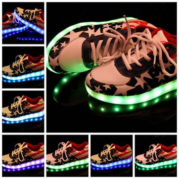 Unisex LED Light Lace Up Luminous Shoes Sportswear Sneaker Luminous Casual Shoes = 1705272644