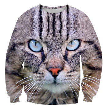 Cat Face Crew Neck Sweatshirt Men & Women Flowers Floral Harajuku Style All Over Print Sweater
