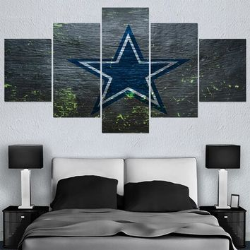 5 Panel New Dallas Cowboys Canvas Painting Calligraphy Sport Ball Team Poster Wall Art Paintings Modern Home Decor Picture
