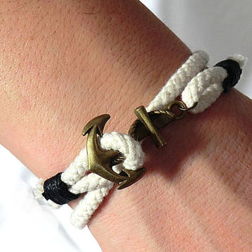 Anchor Bracelet White Anchor Bracelet Nautical Bracelet Anchor Jewelry Nautical Jewelry Anchor charm Anchor rope bracelet