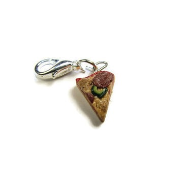 Pizza Cellphone Charm - Miniature Food Jewelry, Polymer Clay Charm, Pizza Charm