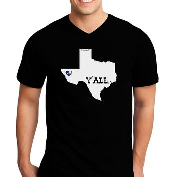 Texas State Y'all Design with Flag Heart Adult Dark V-Neck T-Shirt by TooLoud