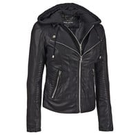 Black Rivet Center Zip Faux-Leather Jacket w/Cable Knit Hood - Big Winter Sale - Women's & Plus Size - Wilsons Leather