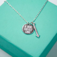 Silver Be Brave and Keep Going Necklace with Arrow, Be strong inspirational bracelet, Be confident,  Arrow Pendant