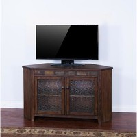 Sunny Designs Savannah Corner TV Console In Antique Charcoal