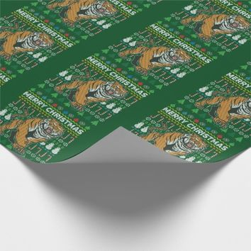 Tiger Wildlife Merry Christmas Ugly Sweater Style Wrapping Paper
