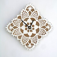 white square doily clock by uncommon on Etsy