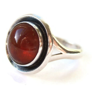 Vintage Niels Erik From Baltic amber and sterling silver ring, modernist design, Danish silver, 1960s or 1970s, #210.