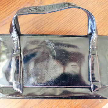 Vintage 1950s Black Coblentz Original Purse / 50s HandBag / Coblentz Original Purse / Vintage Hand Bag / 50s Patent Leather / Vintage Purse
