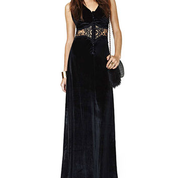 Black V-neck Halter Lace Embroidered Waist Maxi Dress