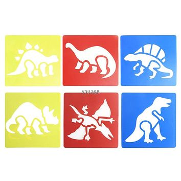 Plastic Dinosaur Picture Drawing Template Stencils Rulers Painting Kids