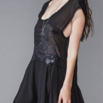 Widow by Lip Service Black Sheer Draped Asymmetrical Dress