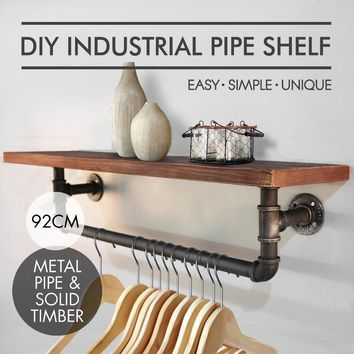 Loft Rustic Iron and Wood Floating Shelf