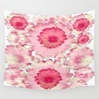 Flowery Pink and White Wall Tapestry by Jennifer Warmuth Art And Design