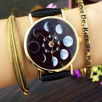 Solar Moon Phase Lunar Eclipse Watch Women Stylish Quartz Watch PU Leather Bracelet Watches For Women Clock hour