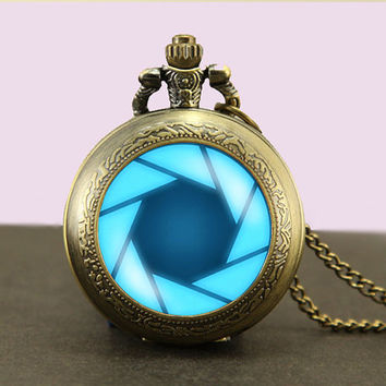 Portal Valve Glados Aperture Science Locket necklace,Glass Pocket Watch Necklace