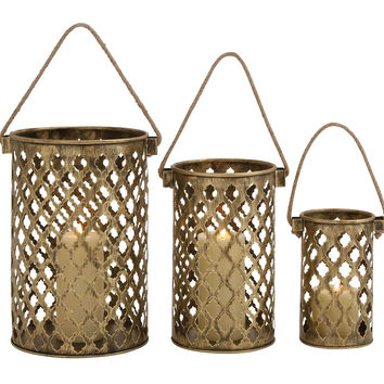 Set Of Three Antique Metal Lantern Candle Holders