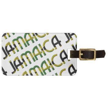 Jamaica Flag Colors Typography Pattern Luggage Tag