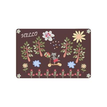 Autumn Fall welcome door mat doormat Cute Raccoon Riding a Scooter Anti-slip  Home Decor, Hello Sunmmer Flower Indoor Outdoor Entrance  Rubber Backing AT_76_7