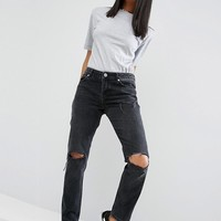 ASOS BRADY Low Rise Boyfriend Jeans in Washed Black with Busted Knees at asos.com