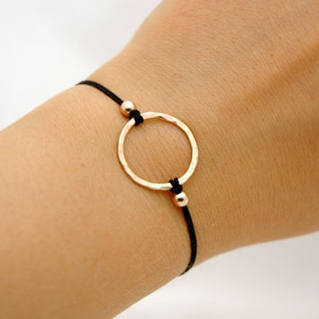 14k Rose Gold Filled Hammered Karma Circle Friendship Bracelet - Simple Modern Minimalist Jewelry - Infinity Bracelet - Make A Wish Bracelet