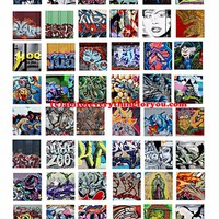 "Graffiti abstract art collage sheet 1"" inch squares pendants digital download graphics images printables pins magnets diy crafts"