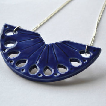 Ceramic statement necklace, royal blue bib necklace, delft blue jewelry, handmade ceramic jewellery, Valentines gift