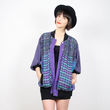 Vintage 90s Jacket Grunge Jacket Bomber Jacket Plaid Flannel Shirt Jacket Windbreaker Batik Mixed Print Teal Purple Black 1990s Coat L Large