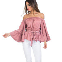 2016 Fashion Women Tops Sexy Off Shoulder Blouses Tunic Top Flare Sleeve Slash Neck Women Blouses And Shirts Summer Ladies Tops