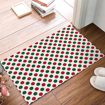 Autumn Fall welcome door mat doormat Modern Polka Dots Red And Green s Kitchen Floor Bath Entrance Rug Mat Absorbent Indoor Bathroom Rubber Non Slip AT_76_7