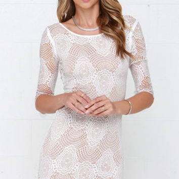 Loved and Adored Ivory Bodycon Lace Dress