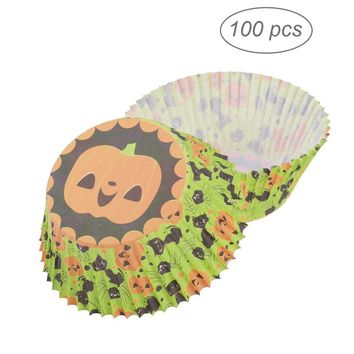 100pcs Halloween Pumpkin Muffin Cupcake Wrappers Liners Cases Party Favors Cake Cup