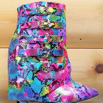 "Nelly HighLife Rainbow Multi Snake Fold-over Boots - 4"" Wedge High Heel Shoes"