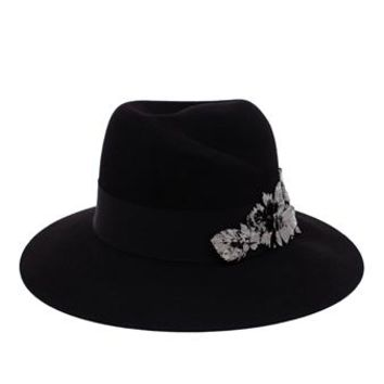 MAISON MICHEL | Felt Hat with Metal Leaf Embellishment | brownsfashion.com | The Finest Edit of Luxury Fashion | Clothes, Shoes, Bags and Accessories for Men & Women